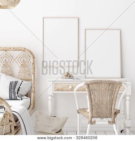 Mock-up Poster,wall In Bedroom, Scandinavian Style, 3d Illustration