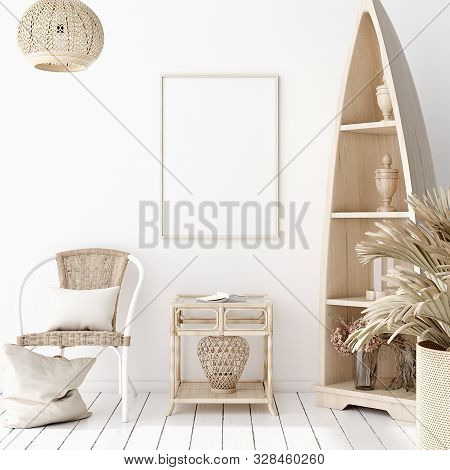 Mock-up Poster Frame In Decorated Room, Scandinavian Style, 3d Illustration