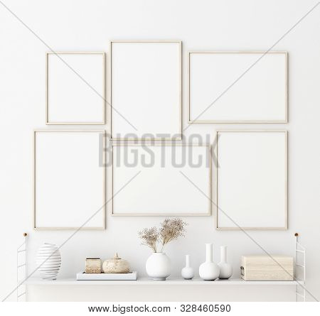 Mock Up Poster Frame In Living Room Interior. Interior Scandinavian Style. 3d Illustration