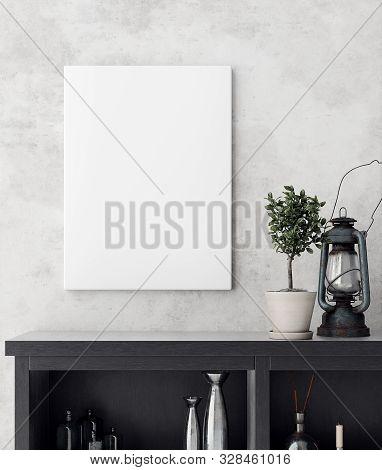 Mock-up Poster Frame In Decorated Room Interior, Scandinavian Style, 3d Illustration