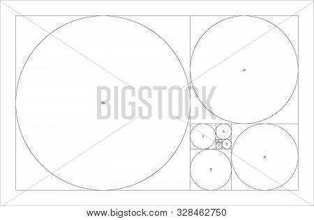 Fibonacci Sequence Of Circles. Golden Ratio Geometric Concept. Vector Illustration