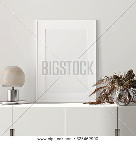 Mock Up Poster Close Up In Modern Interior Background, 3d Illustration