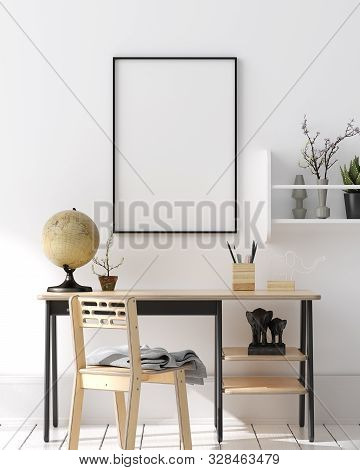 Mock Up Poster, Wall In Children Bedroom Interior Background, Scandinavian Style, 3d Illustration