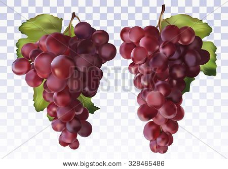 Icon Set Red Grapes. Fresh Red Grapes On Transparent Background. Table Grapes. 3d Realistic Grapes.