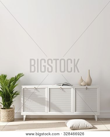 Modern Home Interior, Wall Mock Up, 3d Illustration