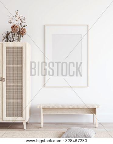 Mock Up Poster In Scandinavian Home Interior, 3d Illustration