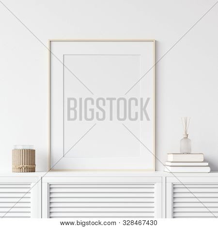 Mock Up Poster Frame On Chest Of Drawers Near White Wall, Scandinavian Style, 3d Illustration