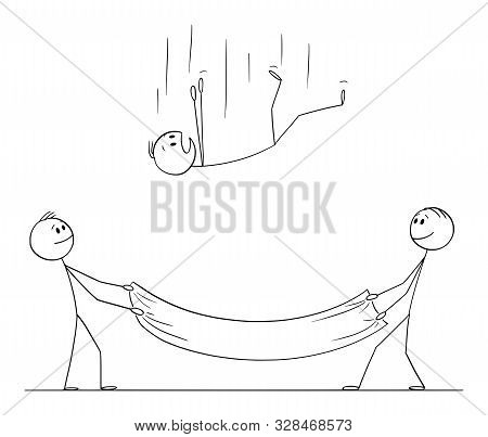 Vector Cartoon Stick Figure Drawing Conceptual Illustration Of Falling Man Or Businessman And Two Me