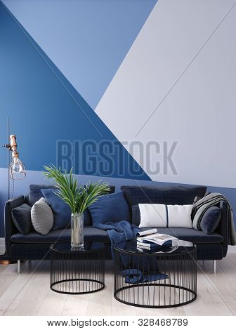 Luxury Modern Blue Living Room Interior With Geometric Form Patterned Wall, Dark Blue Sofa, Floor La