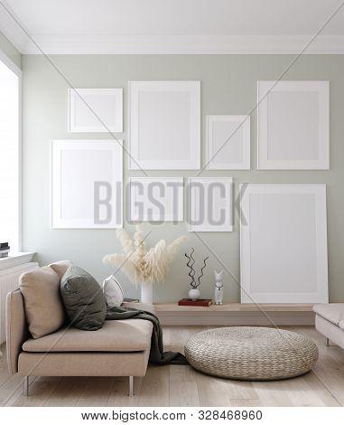 Mock Up Posters Frames In Nordic Interior Background, 3d Illustration
