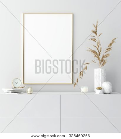 Mock Up Golden Frame In White Interior With Simple Modern Decor, Scandinavian Style, 3d Illustration