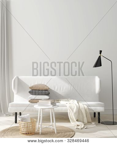 Mock Up Poster, Mock Up Wall In Home Interior, Scandinavian Style, 3d Illustration