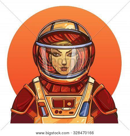 Girl In A Spacesuit For T-shirt Design Or Print. Woman Astronaut. Cosmic Beauty. Martian, Alien Illu
