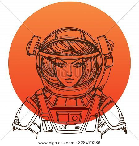 Girl In A Spacesuit For T-shirt Design Or Print. Woman Astronaut. Cosmic Beauty. Martian, Alien Outl