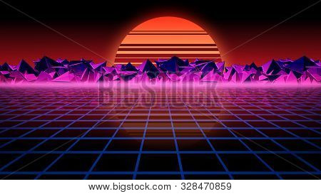 3d Rendering Retro Futuristic Background. Virtual Space On The Background Of Stars And Rocks. The Ba