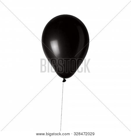 Hand Hold Blank Black Balloon Mock Up Isolated. Balloon With Black Ribbon Art Design Mockup Holding