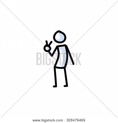 Peace Sign Stick Figure Vector Illustration. Hand Drawn V For Victory Journal Bullet. Stickman Hand
