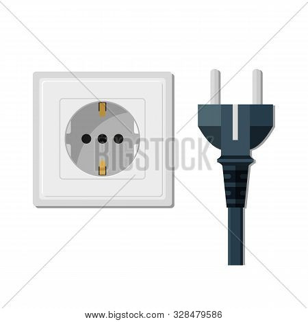 Electric Pin Prong Disconnect. Pin Socket And Electricity Plug Isolated. Power Plug Unplug In Flat S