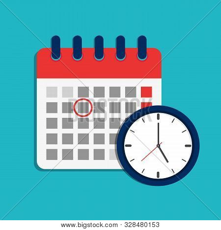 Calendar Schedule And Clock Icon. Time Appointment, Reminder Date Concept. Flat Organizer, Timesheet