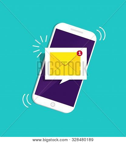 Smartphone With Notification Sms On Screen.alert Of New Message Mail On Mobile Phone. Unread Sms Mes