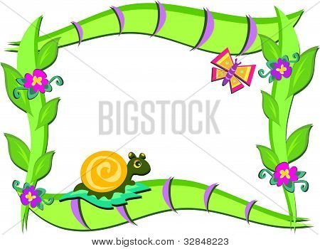 Frame of Nature, Plants, Snail, and Butterfly