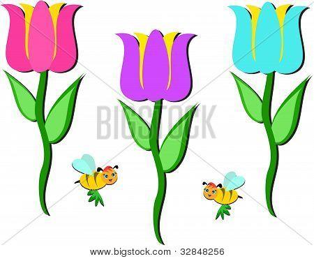 鲜花和蜜蜂的混合