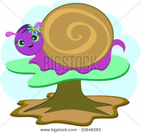 Spiral Snail with Flower Background