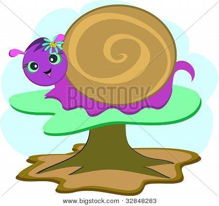 螺旋蜗牛与花背景