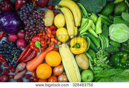 Assorted Fresh Ripe Fruit Red Yellow Purple And Green Vegetables Mixed Selection Various , Top View