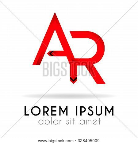Ribbon Logo In Dark Red Gradation With Ar Letter. Can Also Be Used For Company Logos, Websites, Orga