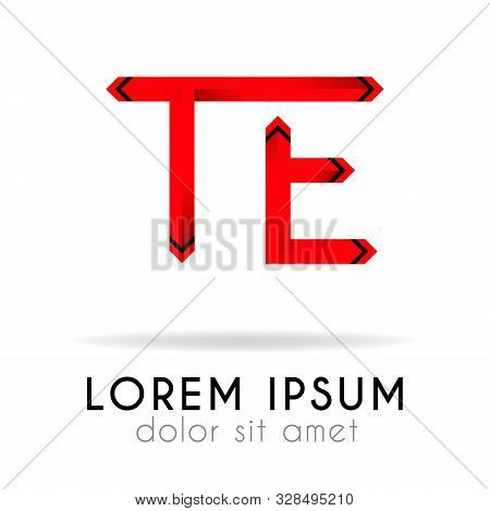 Ribbon Logo In Dark Red Gradation With Te Letter. Can Also Be Used For Company Logos, Websites, Orga