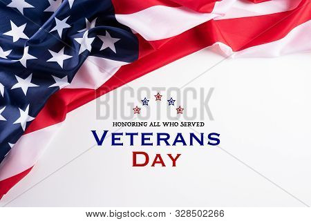 Happy Veterans Day. American Flags With The Text Thank You Veterans Against A White Background. Nove