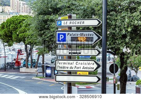 Monte Carlo, 10/05/2019: Tourist Directions Signpost In The City.
