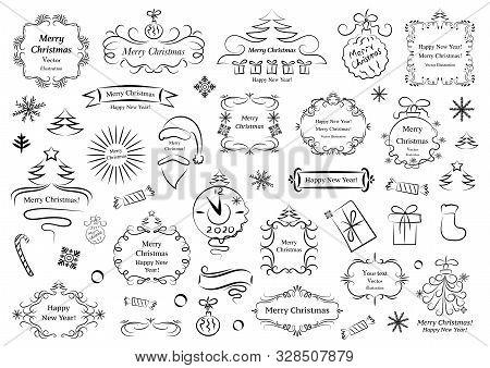 Calligraphic Design Elements For Christmas. Decorative Swirls Or Scrolls, Vintage Frames , Flourishe
