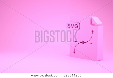 Pink Svg File Document. Download Svg Button Icon Isolated On Pink Background. Svg File Symbol. Minim