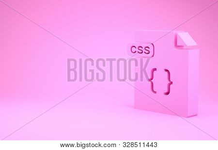 Pink Css File Document. Download Css Button Icon Isolated On Pink Background. Css File Symbol. Minim