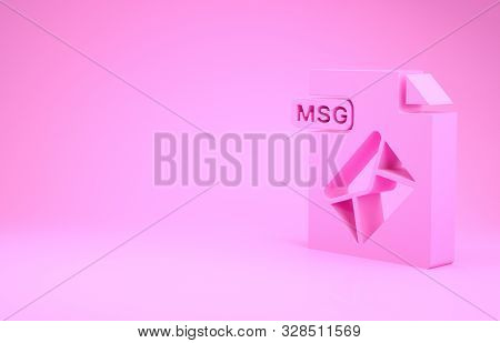 Pink Msg File Document. Download Msg Button Icon Isolated On Pink Background. Msg File Symbol. Minim