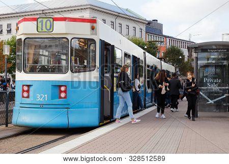 Gothenburg, Sweden - September 2, 2019: Rear View Of A Bi-articulated Streetcar Class M31 In Service