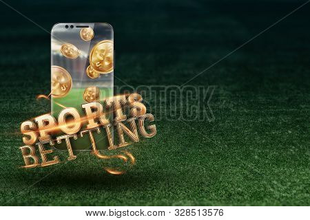 Gold Inscription Sports Betting On A Smartphone On A Background Of Green Grass. Bets, Sports Betting