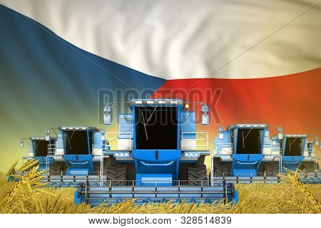 Industrial 3d Illustration Of Some Blue Farming Combine Harvesters On Rural Field With Czechia Flag