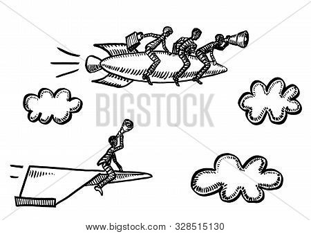 Freehand Pen Drawing Of Business Man Flying Paper Airplane Spotting Through Spyglass Team Of Three R