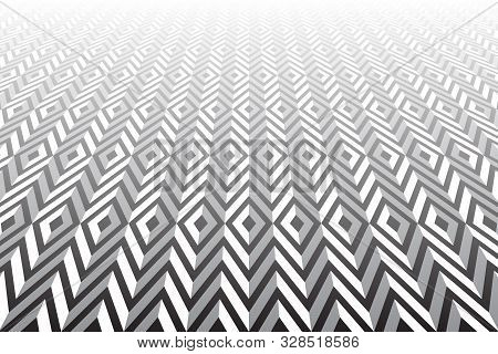 Abstract Geometric Pattern. Optical Illusion Effect. Diminishing Perspective View. Vector Art.