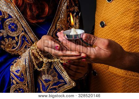 Indian Female And Hindu Man Celebration Divali Studio Background