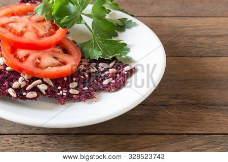 Right Eating Background With Copy Space. Healthy Delicious Raw Foods Snack From Dried Bread Cracker