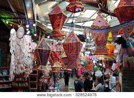 Acre, Israel - 3 May, 2019: East Arab Market Of Old City Of Acre Akko Offers Variety Of The Middle E