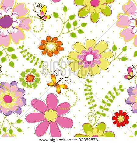 Springtime Colorful Flower Seamless Pattern