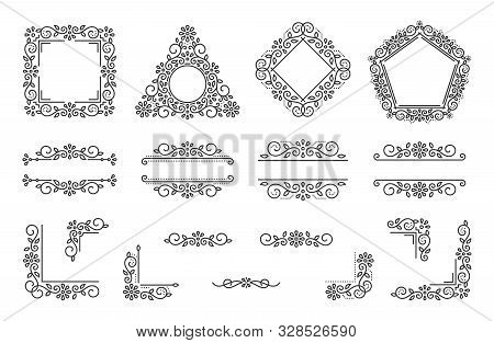 Text Frame Monogram, Divider Corner Set. Fancy Elegant Wedding Decor. Floral Ornament, Flower Elemen