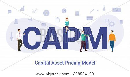 Capm Capital Asset Pricing Model Concept With Big Word Or Text And Team People With Modern Flat Styl