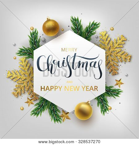 Christmas Greeting Card, Vector Background.gold And Silver Christmas Ball, And Branch Fir-tree. Meta