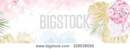 Trendy Simple Flat Lay Design Vector Horizontal Background. Pink And Lilac White Hydrangea, Palm Lea